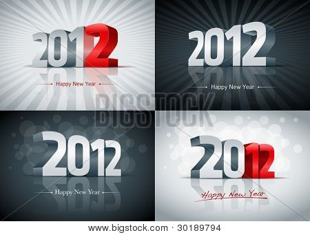 2012 Happy New Year card set. All elements are layered separately. Easy editable.