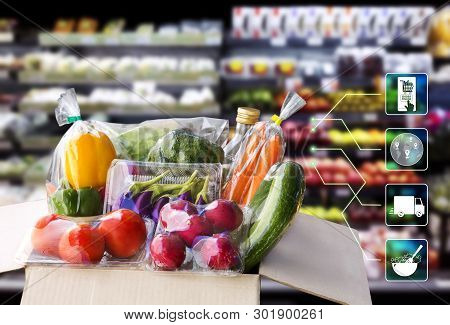 Online Order Grocery Shopping Concept. Food Delivery Ingredients Service At Home For Cooking With Pa