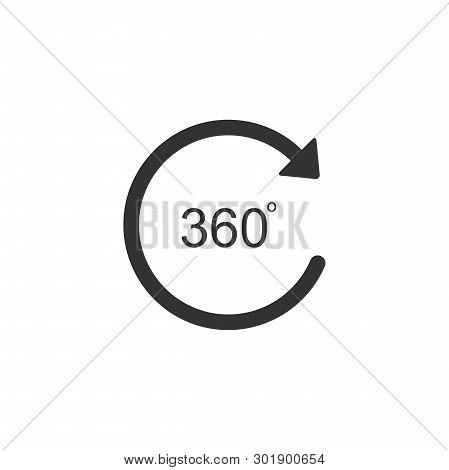Angle 360 Degrees Icon Isolated. Rotation Of 360 Degrees. Geometry Math Symbol. Full Rotation. Flat
