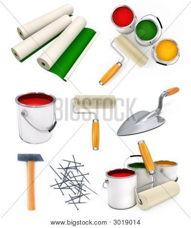 Collection Of Isolated Working Tools For House Repairing
