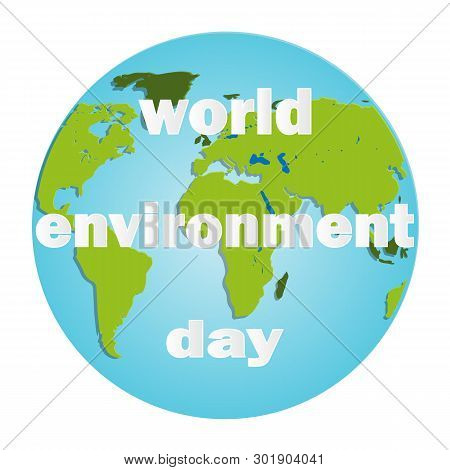 World Environment Day. Energy Sphere Background. Green Concept. Planet Earth. Friendly Cartoon Chara