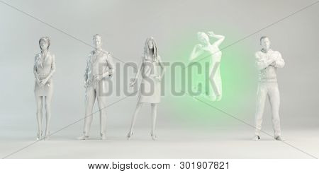 Empowered Business Individual Person Successful and Celebrating 3D Render