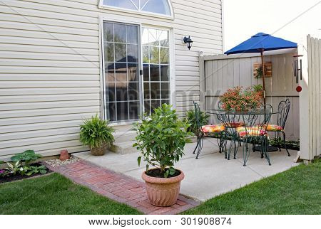 Condo Garden Patio in Morning Shade