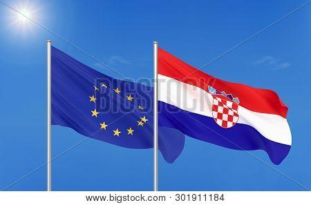 European Union Vs Croatia. Thick Colored Silky Flags Of European Union And Croatia. 3d Illustration