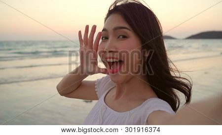 Tourist Asian Woman Selfie On Beach, Young Beautiful Female Happy Smiling Using Mobile Phone Taking