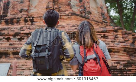 Traveler Asian Couple Spending Holiday Trip At Ayutthaya, Thailand, Backpacker Sweet Couple Enjoy Th