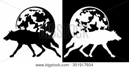 Running Wol And Full Moon - Wild Nature At Night Black And White Vector Silhouette