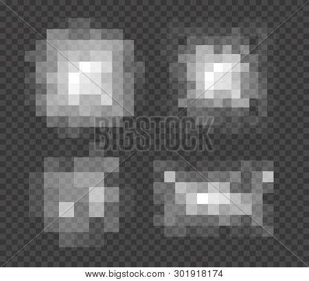 Set Of Blured Grey Squares Censorship Background. Censored Picture Vector Illustration. Nudity Prohi