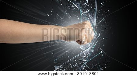 Big hand hits intense and breaks glasses