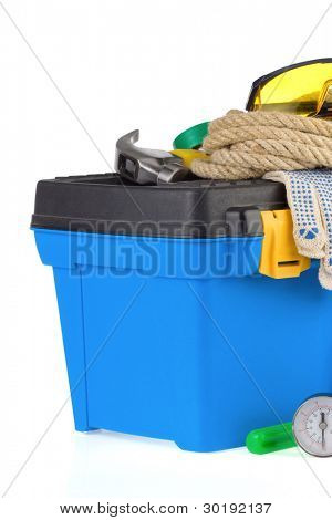 construction tools and toolbox isolated on white background