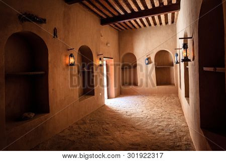 Rustaq, Oman, May 28, 2016: Supply room in historic Rustaq Fort in Oman