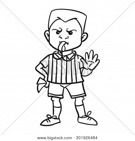 Whistling Soccer Referee Showing Stopping Hand During Match, Human Character Vector Illustration. Sp