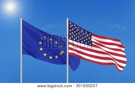 European Union Vs Usa. Thick Colored Silky Flags Of European Union And Usa. 3d Illustration On Sky B