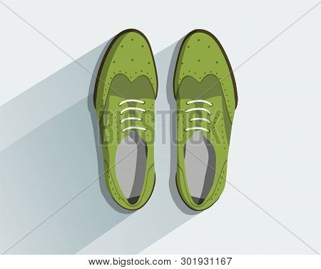 Shoes. Fashion Footwear. Concept Vector Green Footgear Top View In Flat Style Isolated On Light Gray