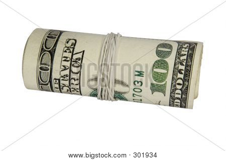 100 Dollars Roll Isolated On White Background With Clipping Path