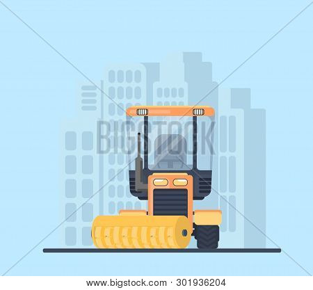 Road cleaner tractor in city. Street sweeper. Machine for highway service poster