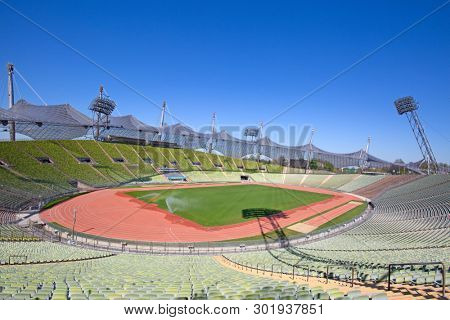 MUNICH - GERMANY April 20, 2019: Olympiapark in Munich, Germany. Olympic Park was constructed for the 1972 Olympics Summer Games.