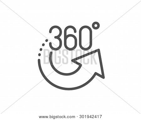 360 Degrees Line Icon. Vr Simulation Sign. Panoramic View Symbol. Quality Design Element. Linear Sty