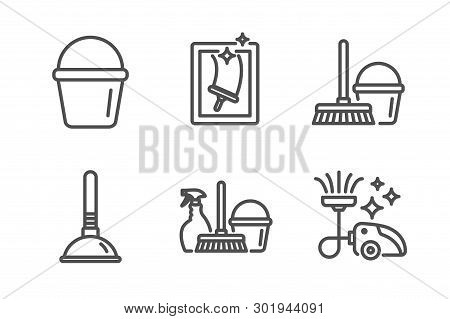 Household Service, Bucket And Plunger Icons Simple Set. Window Cleaning, Bucket With Mop And Vacuum