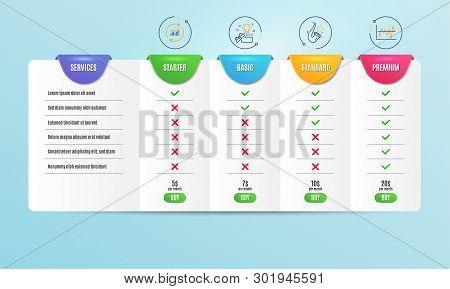 Creative Idea, Update Data And Jazz Icons Simple Set. Comparison Table. Stock Analysis Sign. Present