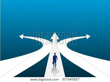 New Way Concept. Beginning Journey Adventures And Opportunities. Businessman On Road Outdoor. Illust