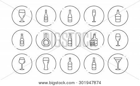 Bottles Line Icons. Beer Drinks, Wine Glass And Whiskey Bottle. Champagne Linear Icon Set. Line Butt
