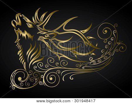 Golden Ornamented Deer Decoration - Vector Illustration - Vector
