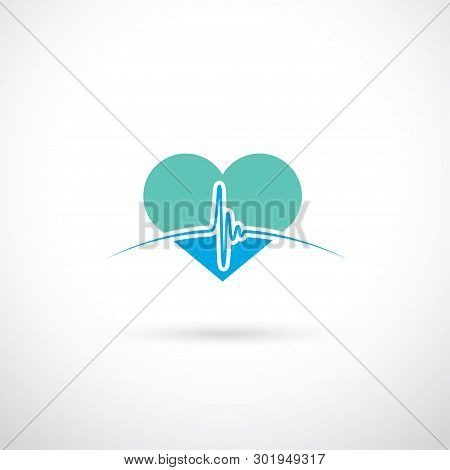 Medical Sign With Beating Heart - Vector Illustration - Vector