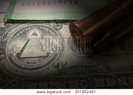 The Concept Of War. Expenses For Armament. Military Bullet Of Shells, Money, Dollar, Vignette
