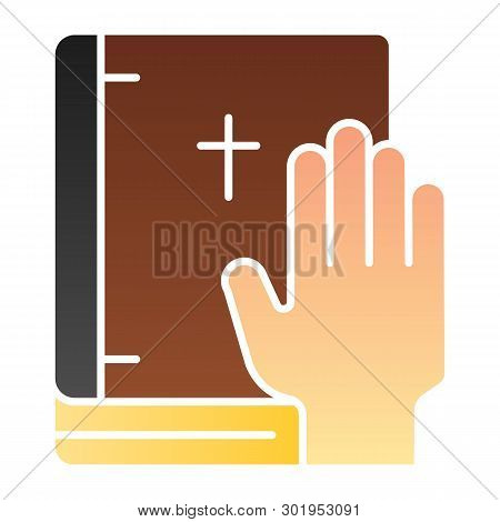 Oath On Bible Flat Icon. Swearing On Book Color Icons In Trendy Flat Style. Honest Gradient Style De