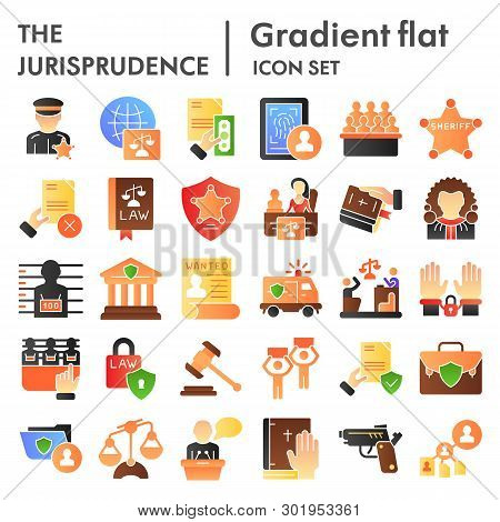 Jurisprudence Flat Icon Set, Law Symbols Collection, Vector Sketches, Logo Illustrations, Court Sign