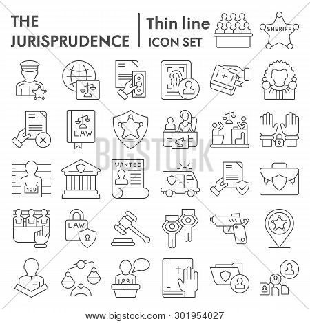 Jurisprudence Thin Line Icon Set, Lawsymbols Collection, Vector Sketches, Logo Illustrations, Court
