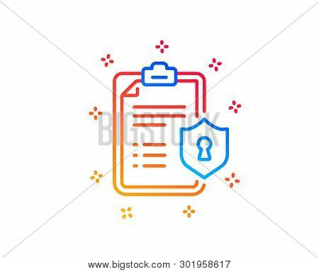Checklist Line Icon. Privacy Policy Document Sign. Gradient Design Elements. Linear Privacy Policy I