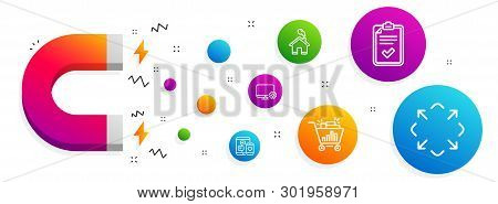 Magnet Attracting. Seo Shopping, Monitor Settings And Checklist Icons Simple Set. Social Media, Home