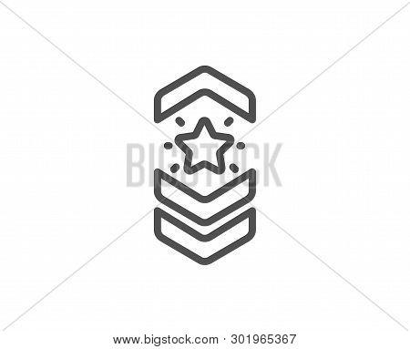 Shoulder Strap Stars Line Icon. Star Award Sign. Best Rank Symbol. Quality Design Element. Linear St