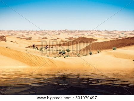 Mirage Of The Water In The Arabian Desert. Camels In Background