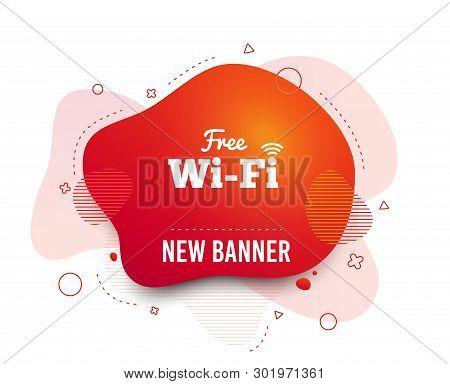 Fluid Badge. Free Wifi Sign. Wifi Symbol. Wireless Network Icon. Wifi Zone. Abstract Shape. Gradient