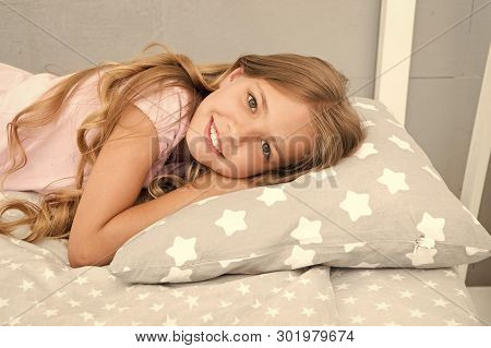 Good Morning. Girl Child Long Hair Lay Awake Close Up. Quality Of Sleep Depends On Many Factors. Cho