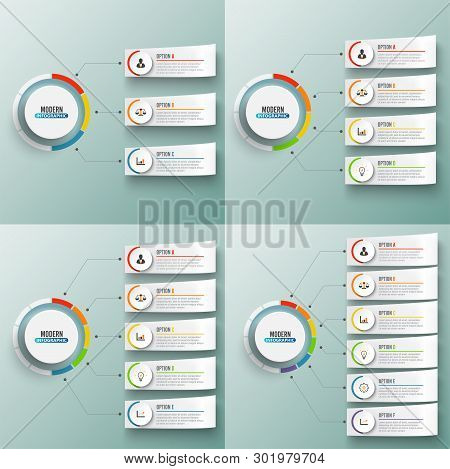 Abstract Elements Of Graph Vector Infographic Template With Label Circles. Business Concept With 3,