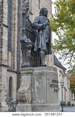 Leipzig, Germany - October 2018: Statue Of Johann Sebastian Bach, World Famous Music Composer, At St
