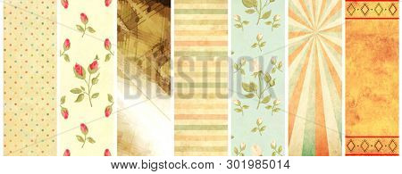 Set of vertical or horizontal banners with old paper texture and retro patterns in shabby chic style with strips, polka dots, rose flowers