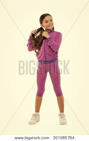 poster of Deal with long hair while exercising. Working out with long hair. Girl cute kid with long ponytails wear sportive costume isolated on white. Sport for girls. Guidance on working out with long hair.
