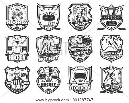 Ice Hockey Championship Match Icons, Winter Sport Game Cup Tournament And League Club Badges. Vector