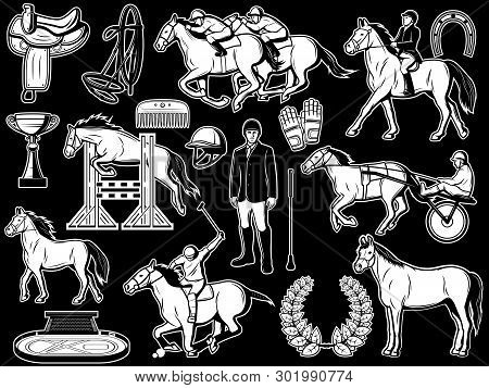 Equine Sport Equipment, Equestrian Horse Riding Items. Vector Isolated Polo Jockey Outfit Gloves, Wh