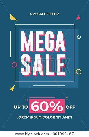 Mega Sale Flyer Template. Vector Illustration For Social Media Banners, Poster, Flyer And Newsletter