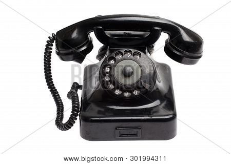 Old Black Vintage Phone Isolated On White
