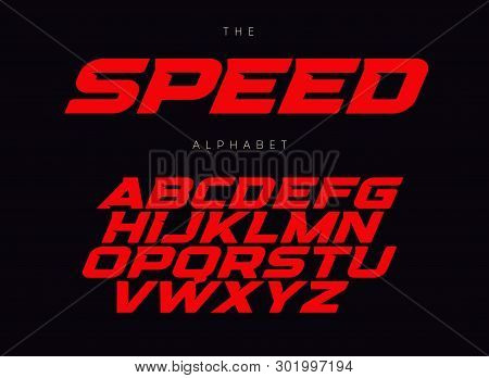 Speed Letters Set. Red Race Font. Italic Bold Racing Style Vector Latin Alphabet. Fonts For Event, P