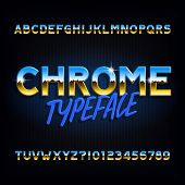 Chrome alphabet font. Metallic effect letters and numbers on dark background. Stock vector typescript for your typography design. poster
