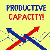 Writing note showing Productive Capacity. Business photo showcasing the maximum possible output of a production plant Two Arrows One Intertwined to Other Team Up or Competition. poster