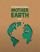 International Mother Earth Day poster illustration of green papercut world map. Recycled paper cutout for planet conservation awareness. poster